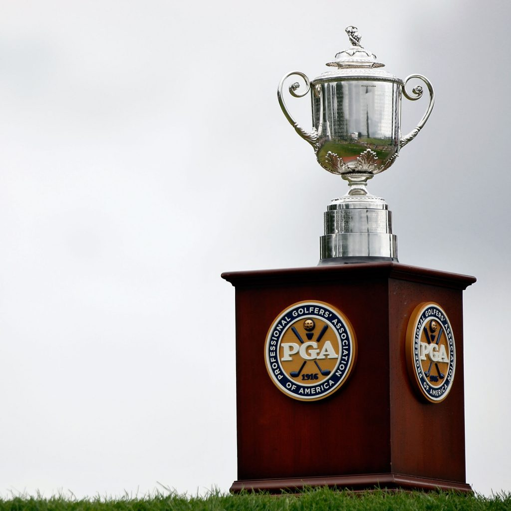 CHASKA, MN - AUGUST 16:  The Wanamaker Trophy is seen on the first hole during the final round of the 91st PGA Championship at Hazeltine National Golf Club on August 16, 2009 in Chaska, Minnesota.  (Photo by Streeter Lecka/Getty Images)