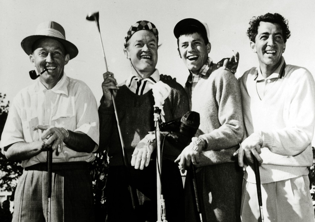 """Stage and Screen. Music / Personalities. pic: circa 1950's. Keen golfers, l-r, Bing Crosby,Bob Hope, Jerry Lewis, Dean Martin. American singer Bing Crosby (1904-1977) actor and singer, famous for his """"crooning"""" style, his hit best selling record """"White Ch"""