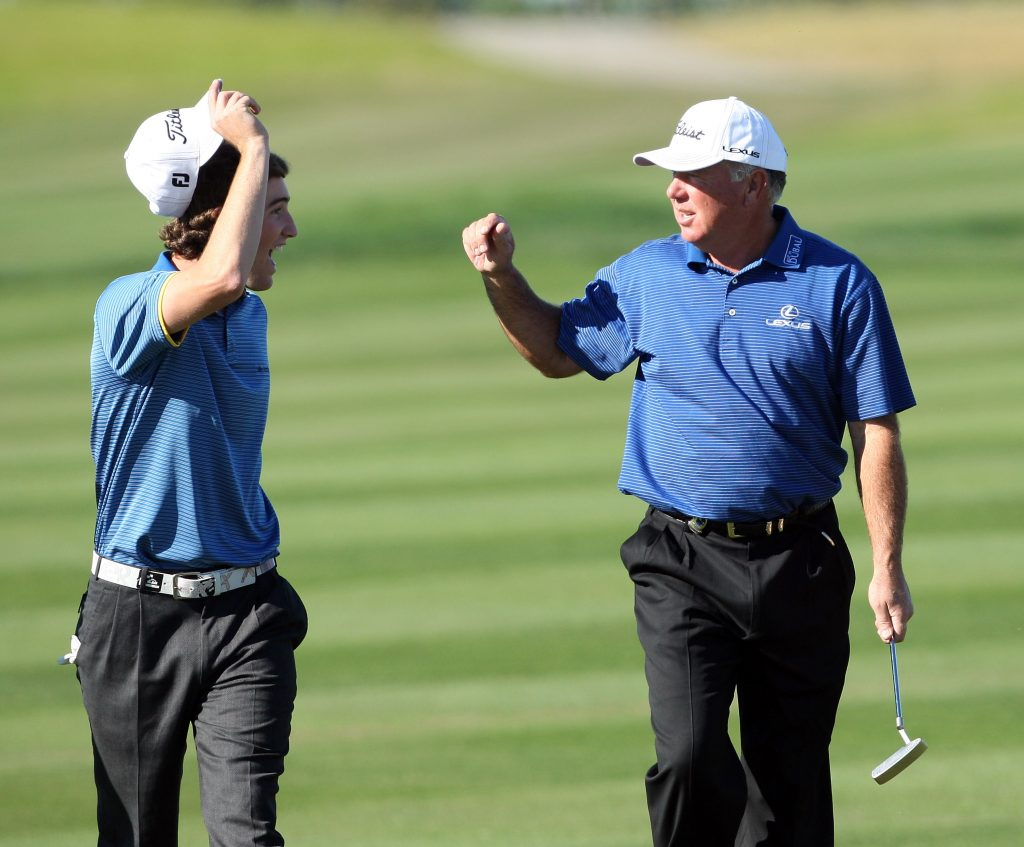 CHAMPIONS GATE, FL - DECEMBER 07:  Shaun O'Meara of the USA having fun on the 18th hole with his father Mark O'Meara during the final round of the Del Webb Father Son Challenge on the International Course at Champions Gate Golf Club on December 7, 2008 in Champions Gate, Florida.  (Photo by David Cannon/Getty Images)