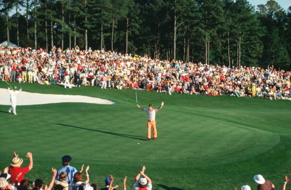 Tom Watson Celebrates On The 18th Green During The 1977 Masters Tournament (Photo by Augusta National/Getty Images)